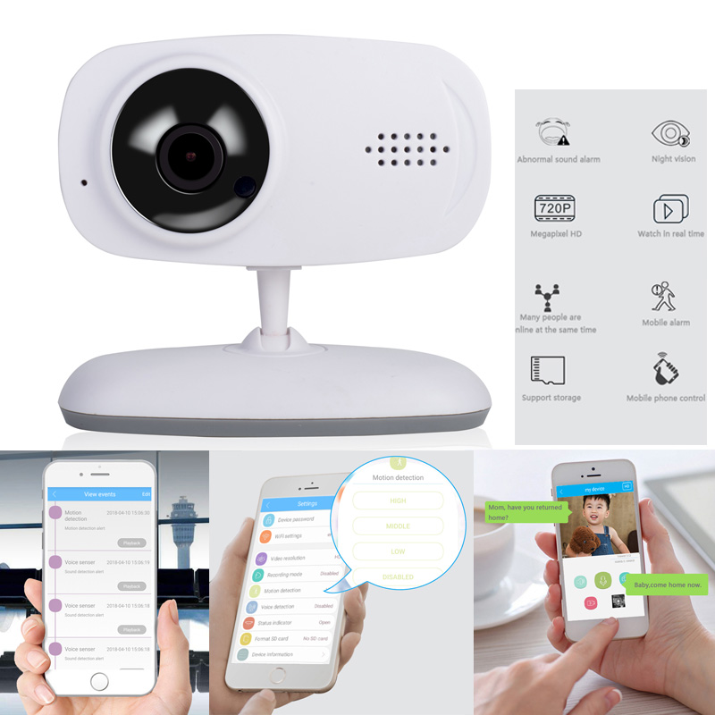 2018 New WIFI Smart Baby Monitor Audio Video Wireless Night Vision for IOS and Android APP Multi-language with English Manuals