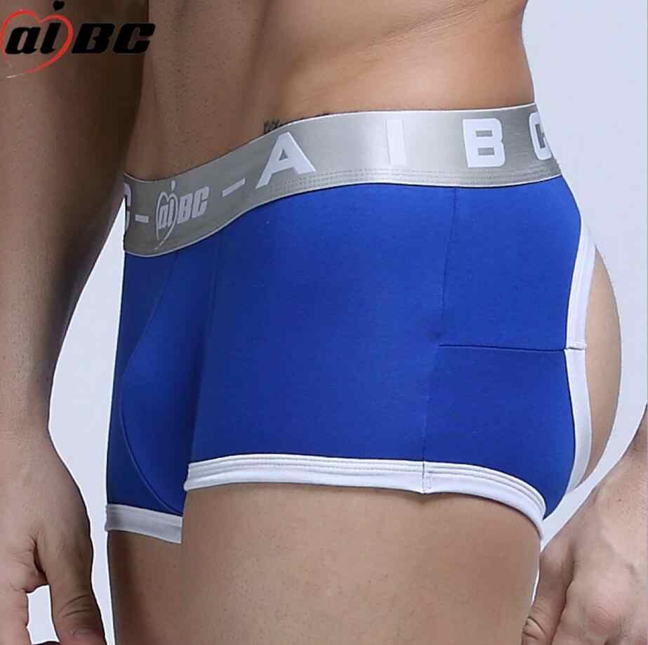 7e0e9ae19b87 Brand Sexy Open Buttock Men's Boxer Short Ice Silk Soft Men's Boxer Short Men's  U Convex
