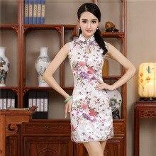 Короткое стильное традиционный ченсам китайское мини-платье белое женское элегантное тонкое вискозное Qipao Новое поступление Vestido Размер S M L XL XXL