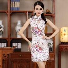 22df710b9797f5 Kurze Stil Cheongsam Traditionelle Chinesische Mini Kleid Weiß Damen  Elegante Dünne Rayon Qipao Neue Ankunft Vestido