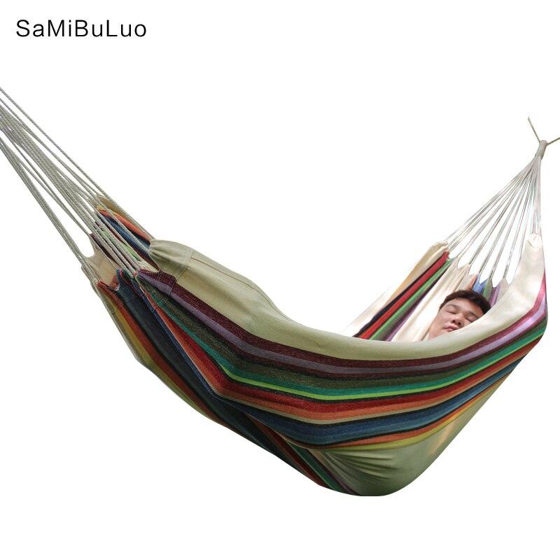 SAMIBULUO Homgrace Portable Hammock Outdoor Hanging Bed Sleeping Canvas Swing Hammock Camping Hunting-in Hammocks from Furniture