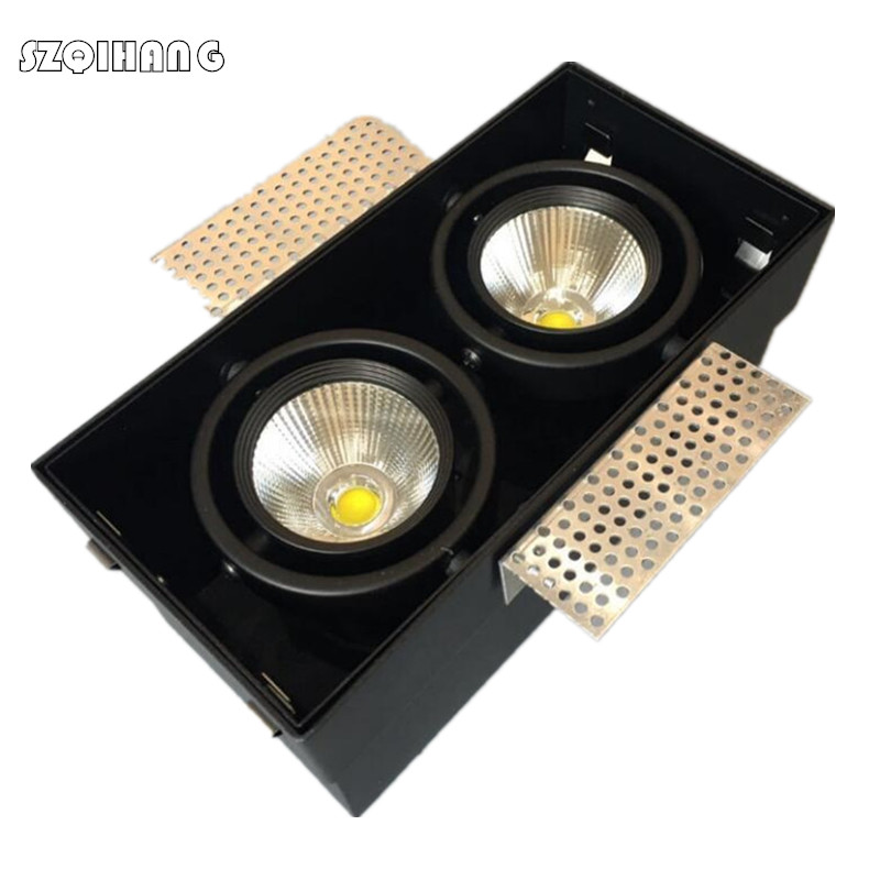Square LED Stores Down Light 12W /2*12W COB LED Recessed Ceiling Lamp Single/Double Head Downlight led Grille Spot Light free shipping ip20 2 13w cut out 262 124mm 40degree citizen cob led grille down light