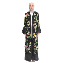 Muslim Women Floral Chiffon Abaya Arab Embroidery Long Cardigan Kaftan Dresses without Scarf