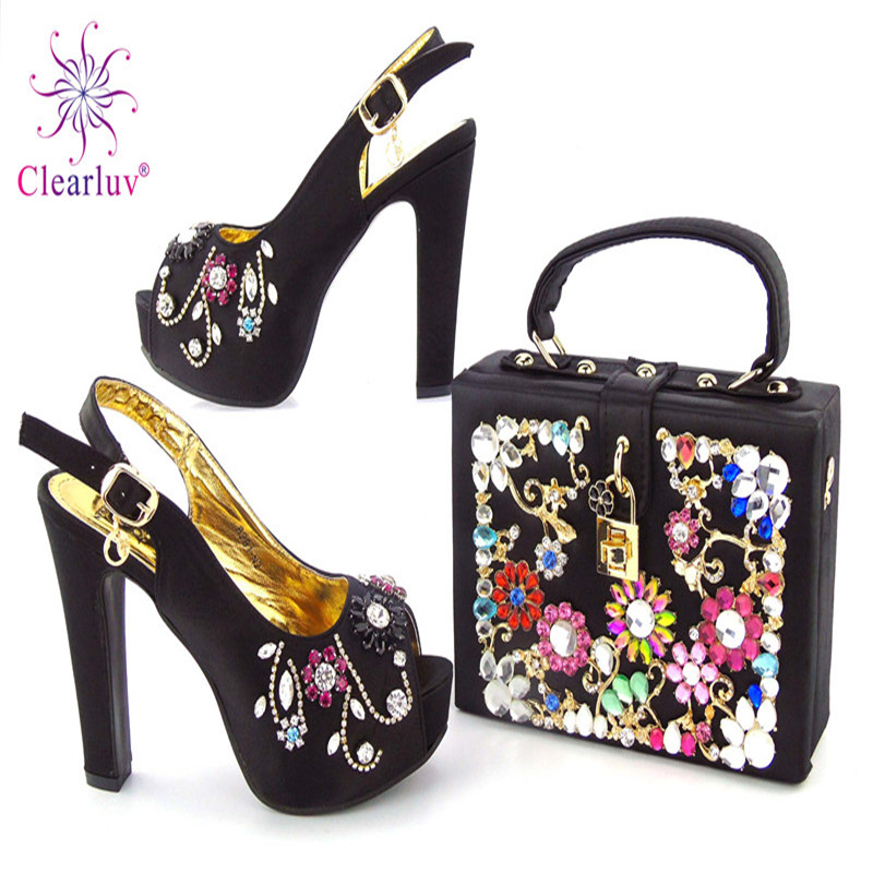 Clearluv 17102910 Women shoes and bags to match set hot sale in African PU  leather shoes and bag Italian design red color 8cbf44b6e781