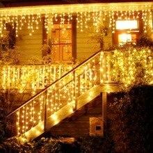 5 м Рождественский светодиодный светильник-Гирлянда для занавесок 96 Светодиодный Рождественская гирлянда светодиодный Faiy droop 0,4-0,6 м садовый наружный декоративный светильник
