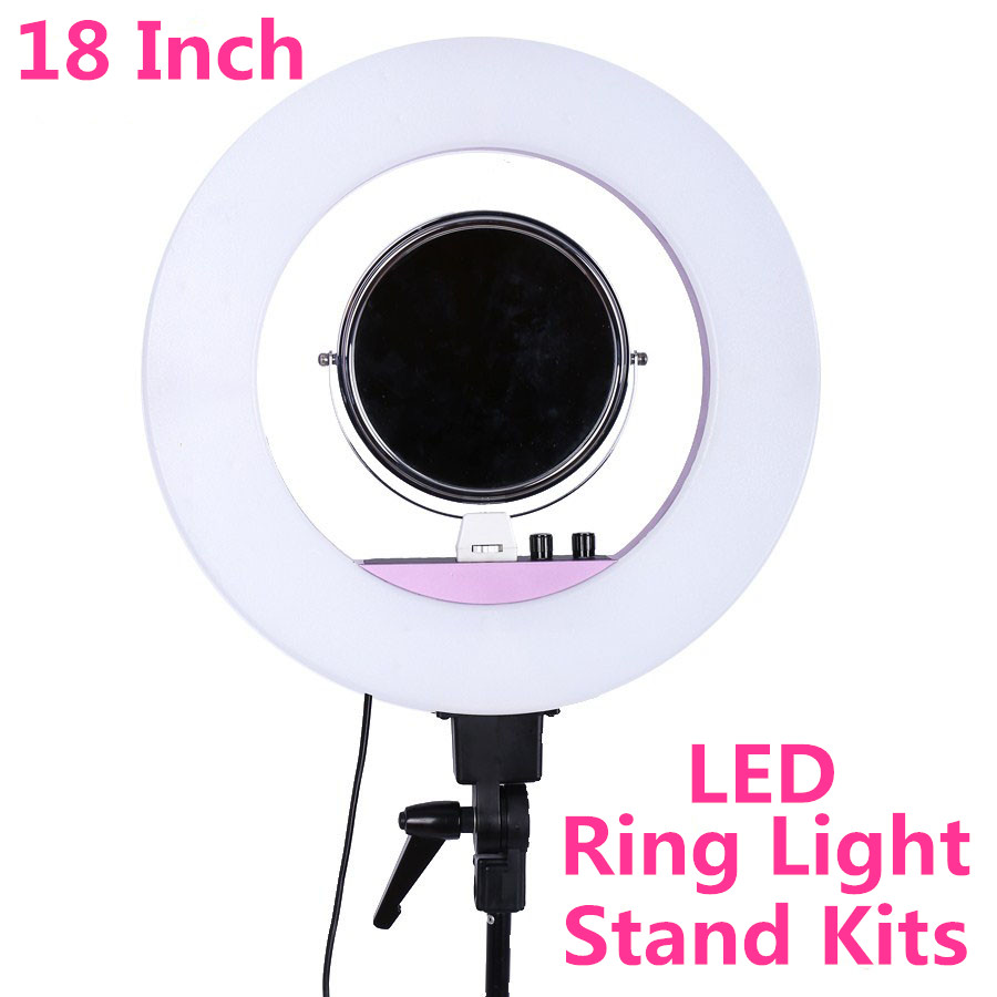 INNO 18 Inch 5500k 48w LED Ring Light Photography Dimmable Ring Lamp With Tripod Stand for Camera Photo/ Makeup & Beauty/Video ashanks 55w 5500k ring light with stand 240 led photographic lighting dimmable camera photo studio phone video photography lamp