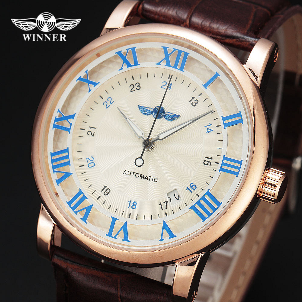Winner Men s Watch Luxury Brand Automatic Business Style Leather Strap Analog Dress Fashion Clock On