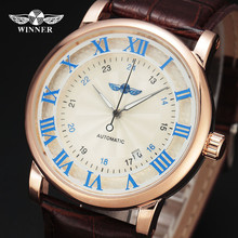 Winner Men s Watch Luxury Brand Automatic Business Style Leather Strap Analog Dress Fashion Clock On