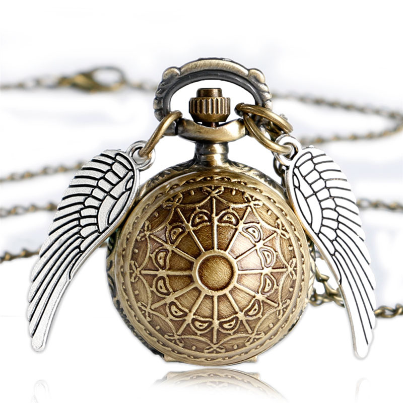 Vintage Bronze Movie Copper Pocket Watch Snake Badge Slytherin Hogwarts Necklace With Chain For Men Women Kids Birthday Gifts