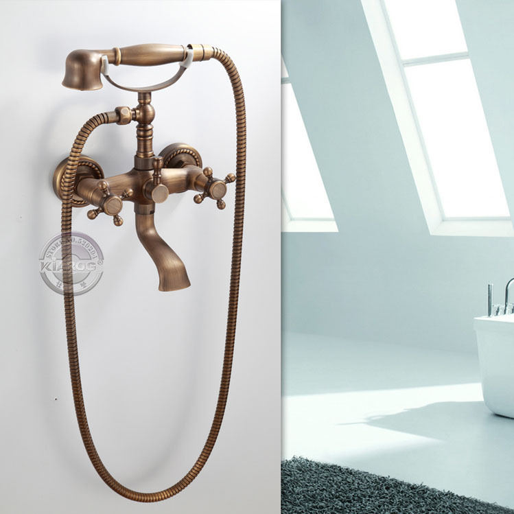 Chrome Brass Two Cross Handles Wall Mounted Clawfoot Bath Tub Faucet ...