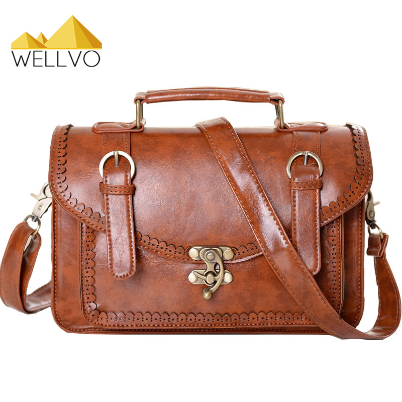 Wellvo Vintage Women Handbag Spanish Design Female Shoulder Bag Retro Carved Ladies Crossbody Bags PU Leather sac a main XA1651C