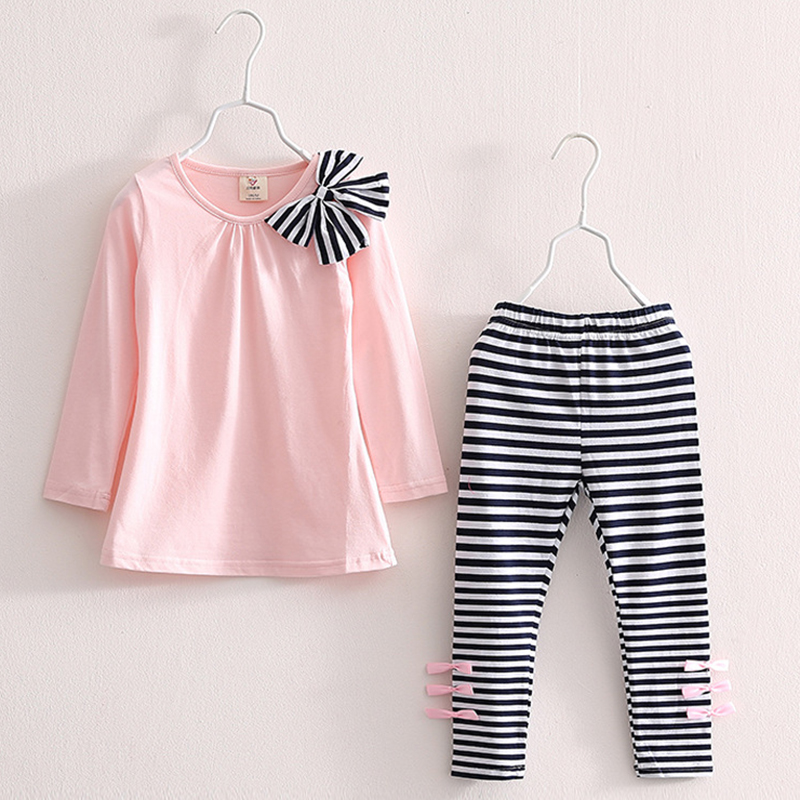 Autumn Girls Clothes Cotton Casual Children Clothing Set Long Sleeve T-Shirts Striped Leggings Baby Kids Suits 3 4 5 6 7 8 Years