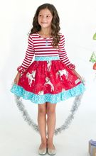 2016 wholesale cute new style unicorn design with ruffle Christmas dress