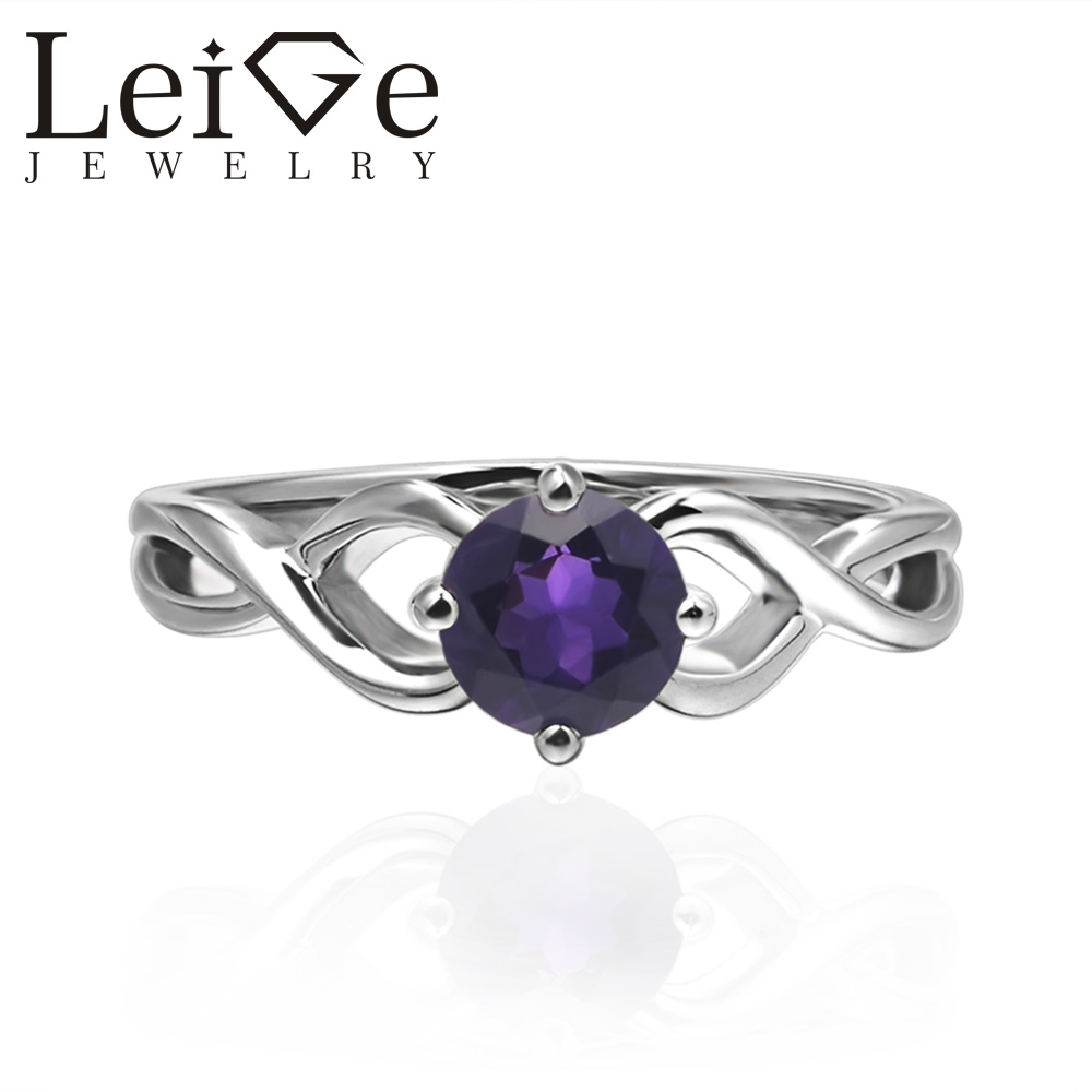 0.81 Ct Round Purple Amethyst and Black Diamond 925 Sterling Silver Women/'s Ring