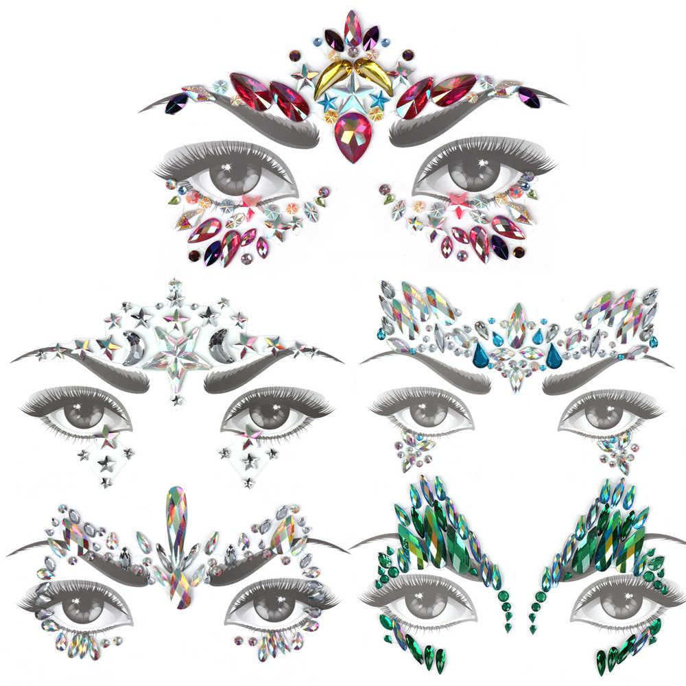 Блеск для лица драгоценности временная татуировка наклейка тела драгоценные камни Цыганский фестиваль украшение для вечерние украшение для лица тату принадлежности для макияжа