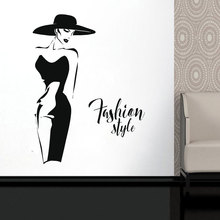 Fashion Lady Model Wll Vinyl Sticker Window Decal For Clothing Boutique Woman With Black Dress Self-adhesive Murals FS21