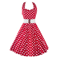 Halter summer dress polka dot 50 s 60 s rockabilly balanço retro vintage dress túnica vestidos