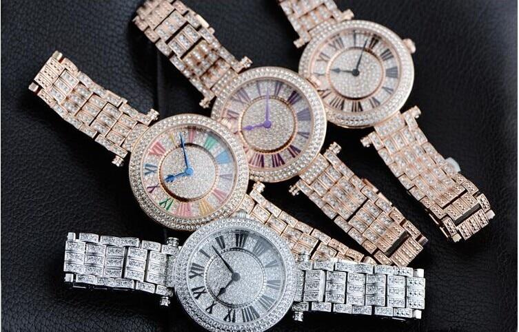 European Big Designer Women Bracelet Watches Fashion Luxury Crystals Dress Wristwatch Classic Roman Number Quartz Relojes WA019