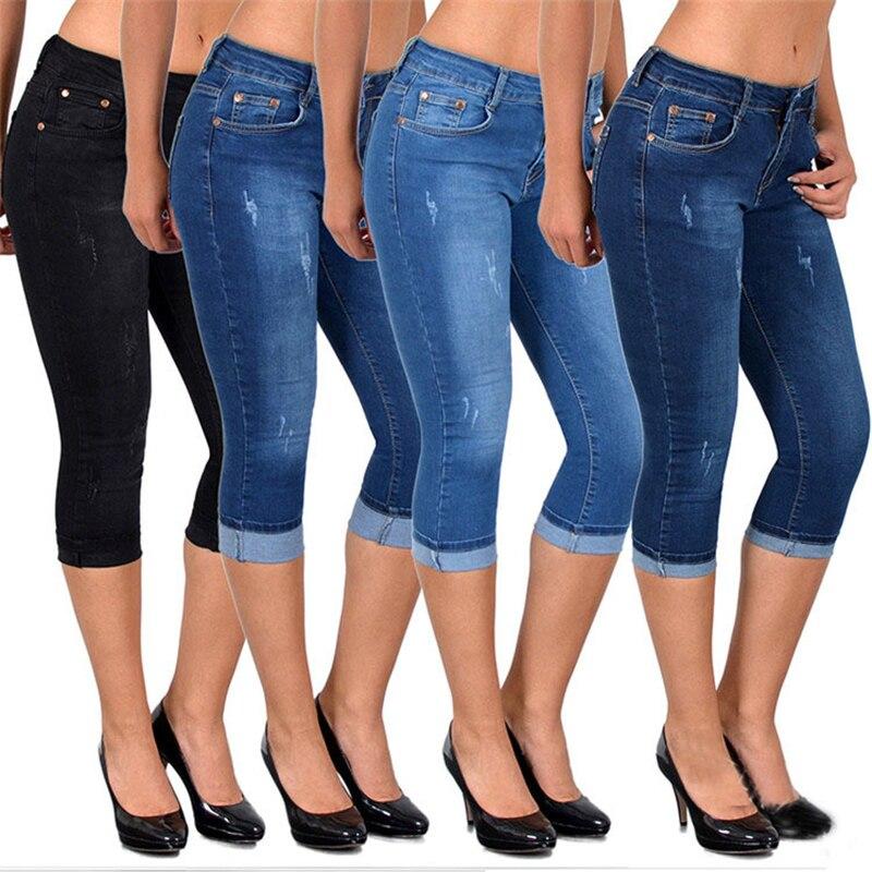 ZYFPGS 2019 Denim Shorts For Women's Jeans Vintage Summer Autumn Fashion Casual New Discount Elasticity 5XL Large Size Sale