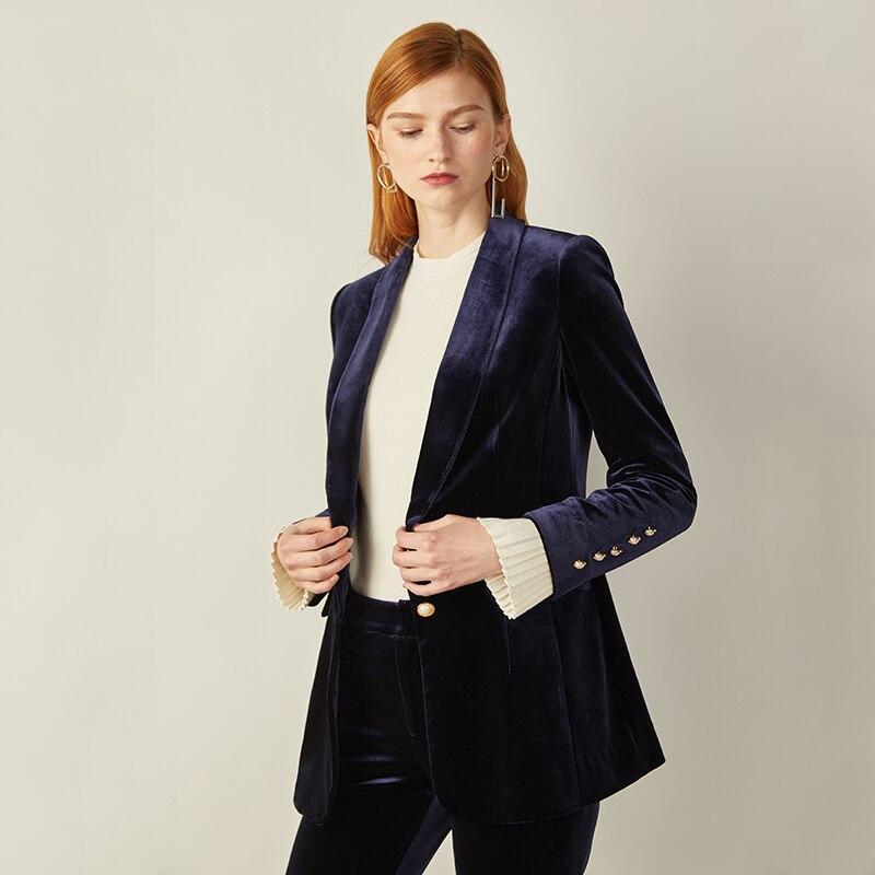 2018 New Arrival Ladies Suits Fashion Velvet Beads Single Breasted Blazer Loose Bell Bottom Pants Elegant Slim Suit For Women