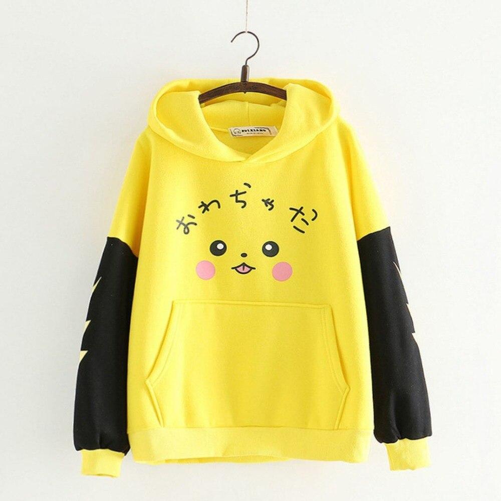 Szblaze Anime Pokemon Pikachu Print velvet Cotton Hoodies with Long Ears Kawaii Girls Cute Pullovers Women Cotton Cosplay Top