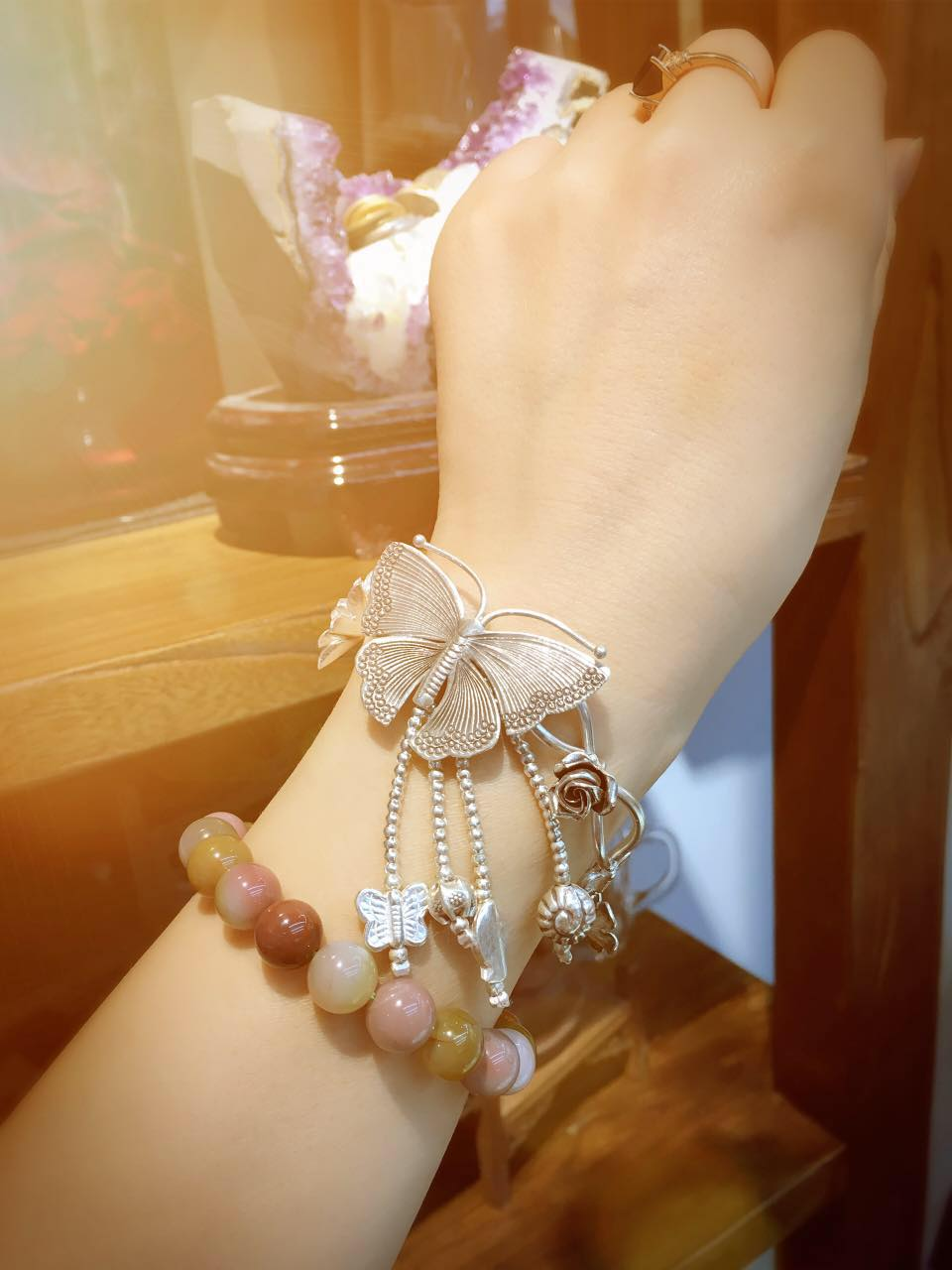 Thailand handgemaakte zilveren vlinder armband wind herstellen van oude manieren doen oude vrouwelijke Thai zilveren armband met natie