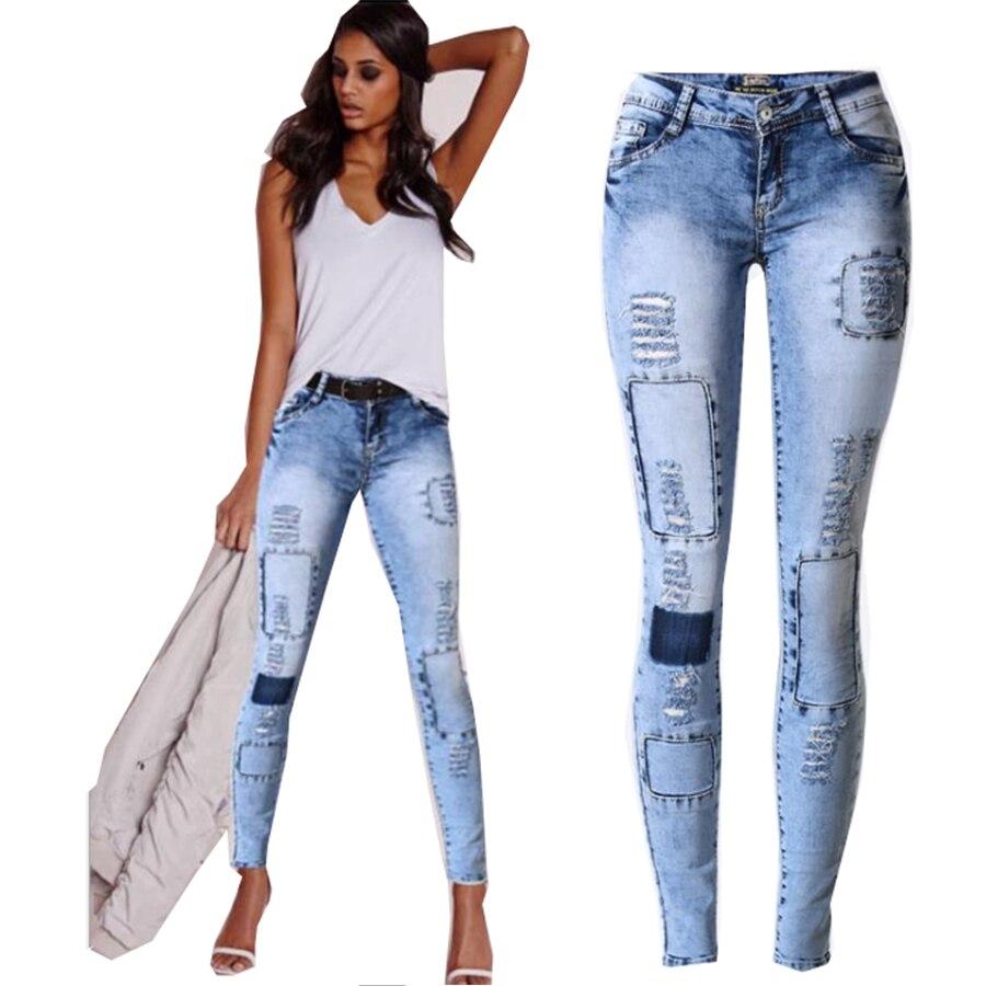Multi Para Pantalones Agujero Denim Delgado Mujer Stretch 2017 Jeans CxhrdtsQ
