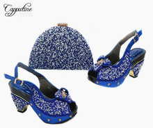 Capputine African Elegant Silver Shoes And Bag Set