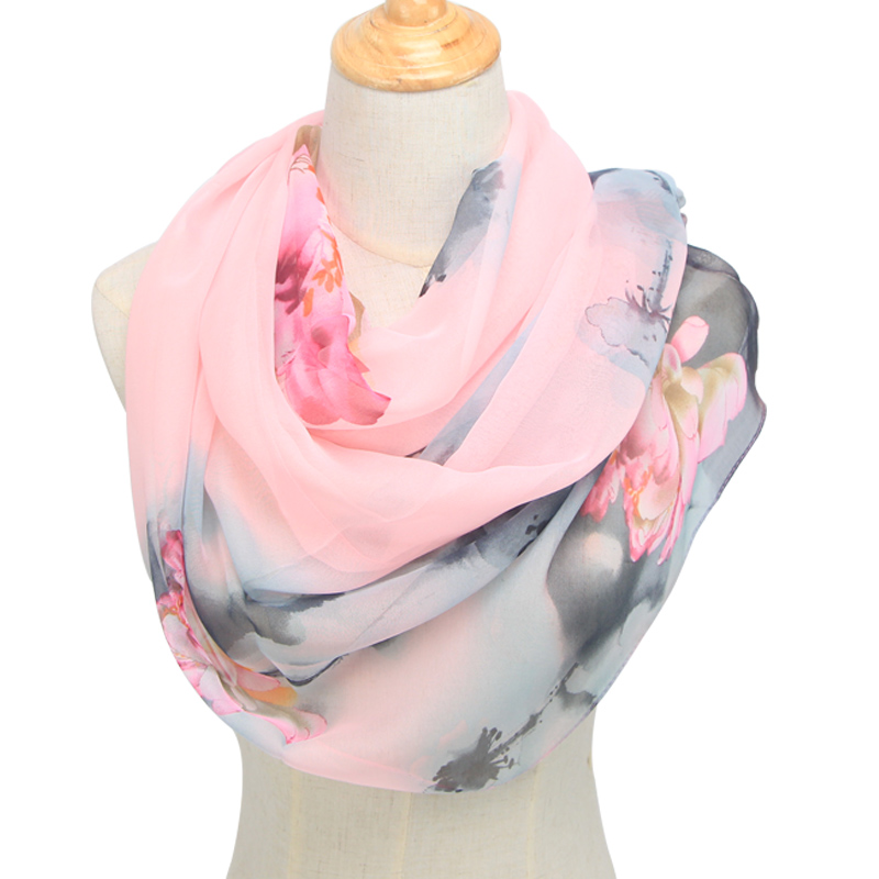 2019 Spring And Autumn Chiffon Women Scarf Polyester Geometric Pattern Design Long Soft Silk Shawl QQS003