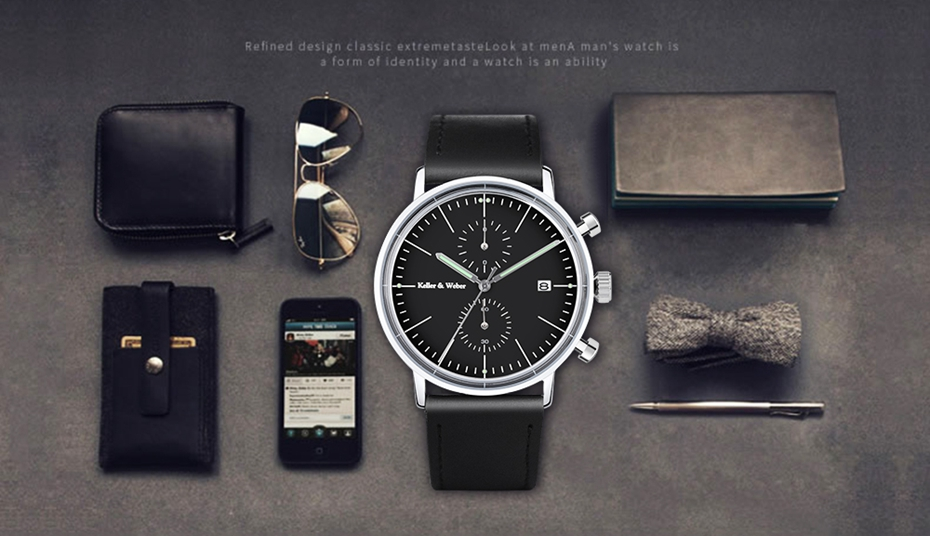 Keller & Weber Mineral Glass Men\'s Watches Luxury Chronograph Genuine Leather 30M Waterproof Sports Casual Male Clock Hour Gifts 2018 Quartz Wristwtaches (16)