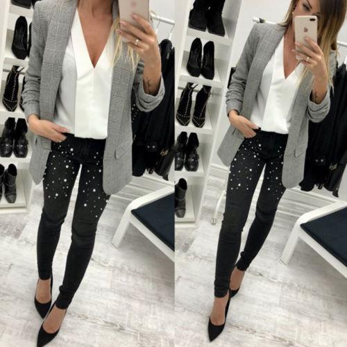 Fashion Sexy Women Denim Skinny Pants High Waist Stretch Beading Jeans Slim Pencil Trousers #3