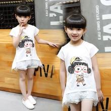 Fashion girls summer t-shirts 2016 baby cartoon print lace dress short-sleeve t-shirt girl top casual girl tee