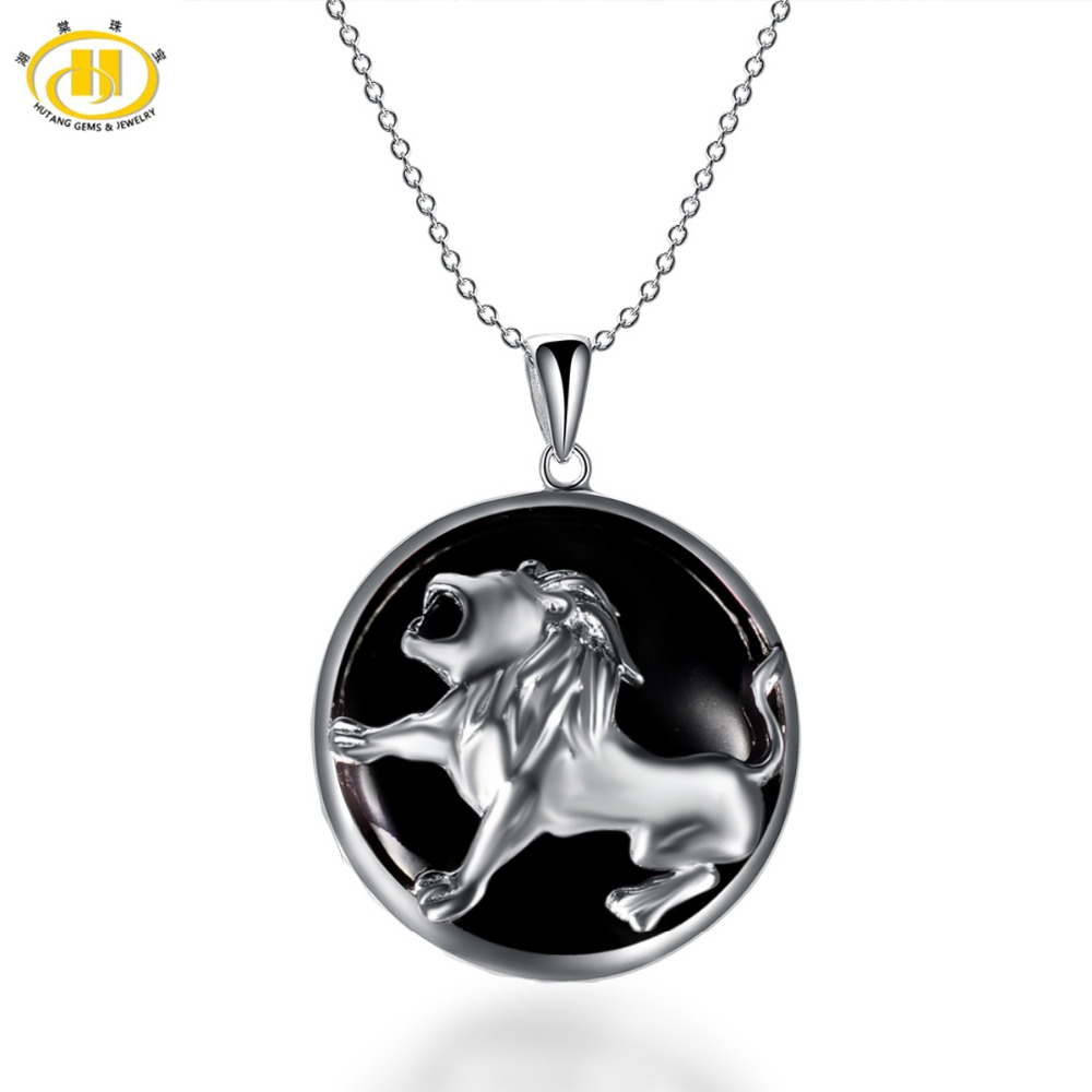 Hutang Leo Zodiac Pendant Natural Black Jade 23mm Solid 925 Sterling Silver Necklace Women's Men's Fine Jewelry Birthday Gift