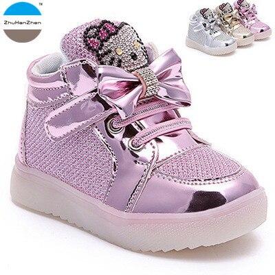 hot sale hot new products 100% quality € 7.76 14% de réduction|2018 1 10 ans bébé fille lumières chaussures de  mode bottes courtes décontracté casual princesse chaussures dessin animé  LED ...