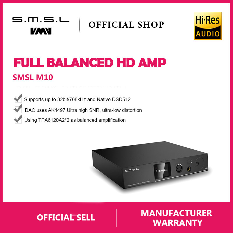 SMSL M10 AK4497 Chip Completa balanced amplificatore per cuffie & DAC Supporto DSD512 PCM768kHz USB Decoder Digitale Amplificatore di Potenza