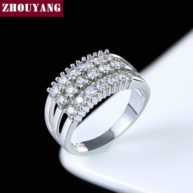 Silver Color Luxury Bijoux Fashion Wedding&Engagement Ring Made With Cubic Zirco