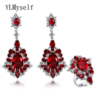 Professional Wedding Jewelry Supplier 2016 New Fashion Sets Siam Red Crystal Platinum Plate Earrings And Ring