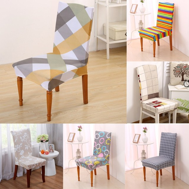 1Pcs Removable Chair Cover Dining Room Stripes Pattern Stretch Seat Decor