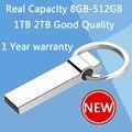 100% Real Hot Corrente de Metal Chave 64 GB Mini USB Flash Drive de 128 GB 32 GB Pen Drives 16 GB 8 GB Pendrive Memory Stick Disco Em Chave de 512 GB