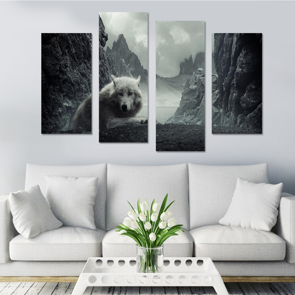 Living Room Paintings Us 8 99 Wolf In The Mountain Canvas Set Modular Pictures Canvas Pictures For Living Room Paintings Wolfs Cheap Wall Art Drop Shipping In Painting