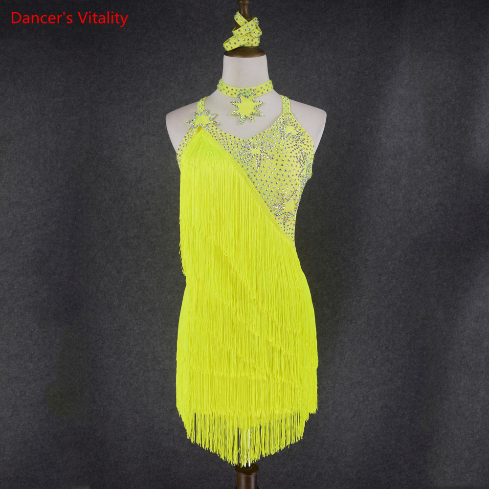Lady performance latin dance clothes senior women Dance Wear Girls Competition Dress