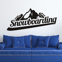 Wall Decal Snowboarding Snowboarder Board Inscription Mountain Play Room