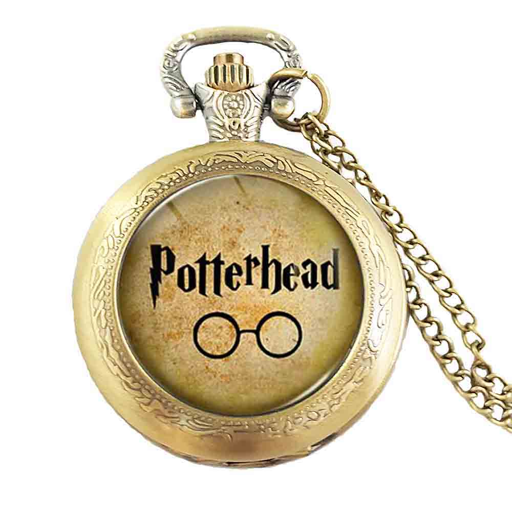 2 color Steampunk Movie Glasses Pocket Watch Necklace doctor who 1pcs/lot chain mens womens gift charming 2017 potter head image