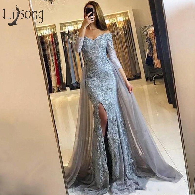 Elegant Lace Mermaid   Evening     Dresses   Full Sleeves Sexy Long   Evening   Gown With Detachable Train Off Shoulder Formal Wearing