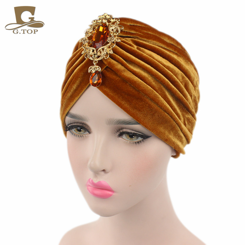 New luxury soft Velvet Indian Style Turban Cap Hair Wrap Hat Hijab with  jewelry pendant new fashion indian style velvet flapper jeweled brooch swomen turban headband ear warmer hat g 254
