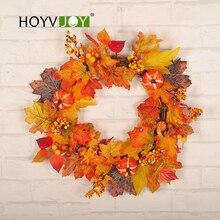 HOYVJOY Maple Leaf Fall Wreaths Halloween Pumpkin Decor Holiday Decoration For Home Party Supplies