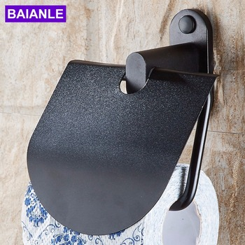Toilet Paper Holder Waterproof Cover Creative Aluminum Bathroom Roll Paper Holder Black Paper Towel Holder Wall Mounted creative wall mounted bathroom roll paper towel racks home wall decoration solid wood paper towel racks bathroom accessories