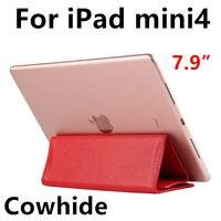 Case cowhideแขนสำหรับipad mini 4 tablet pcป้องกันปกสมาร์ทป้องกันหนังแท้สำหรับapple mini4 7.9นิ้วครอบคลุม