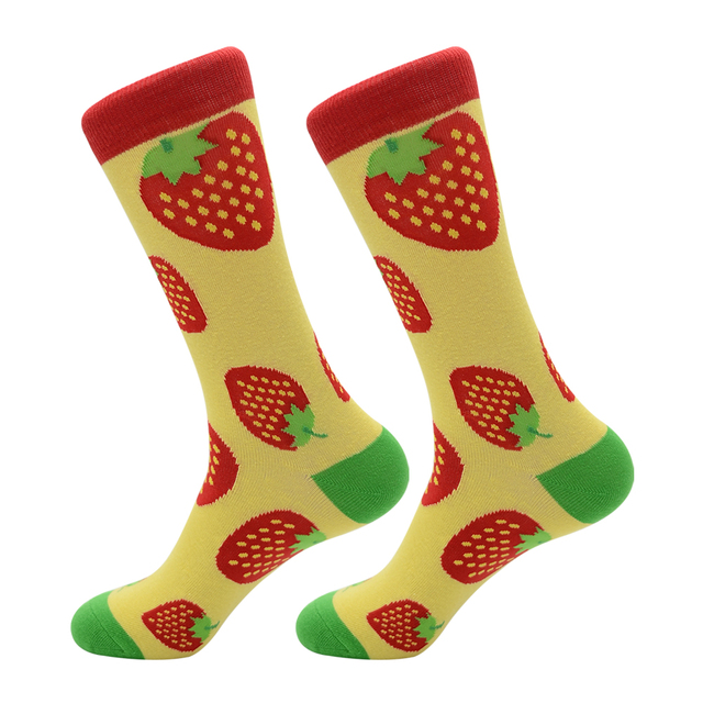 New Arrival Colorful Men's Cotton Crew Funny Socks Watermelon Bee Strawberry Pattern Female Novelty Wedding Socks For Gifts 2