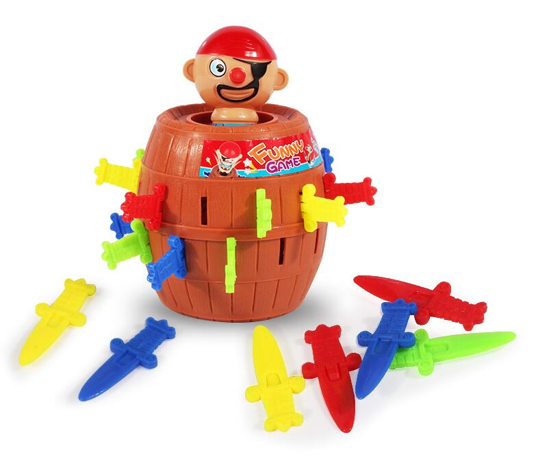 New Novelty Kids Children Funny Lucky Game Gadget Jokes Tricky Pirate Barrel Game Tricky Novelty Toys image